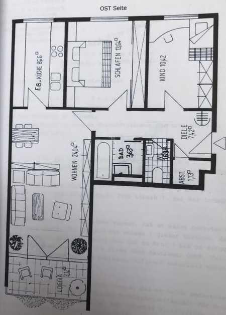Ruhige 3 Zimmer ETW ab 1.9., Balkon, Lift, U-Bahnnähe in Obersendling (München)