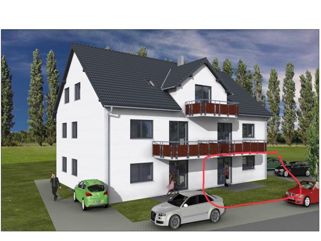 Erstbezug: freundliche 3,5-Zimmer-EG-Wohnung mit Terrasse und zusätzlichem Hobbyraum in Gundihausen in