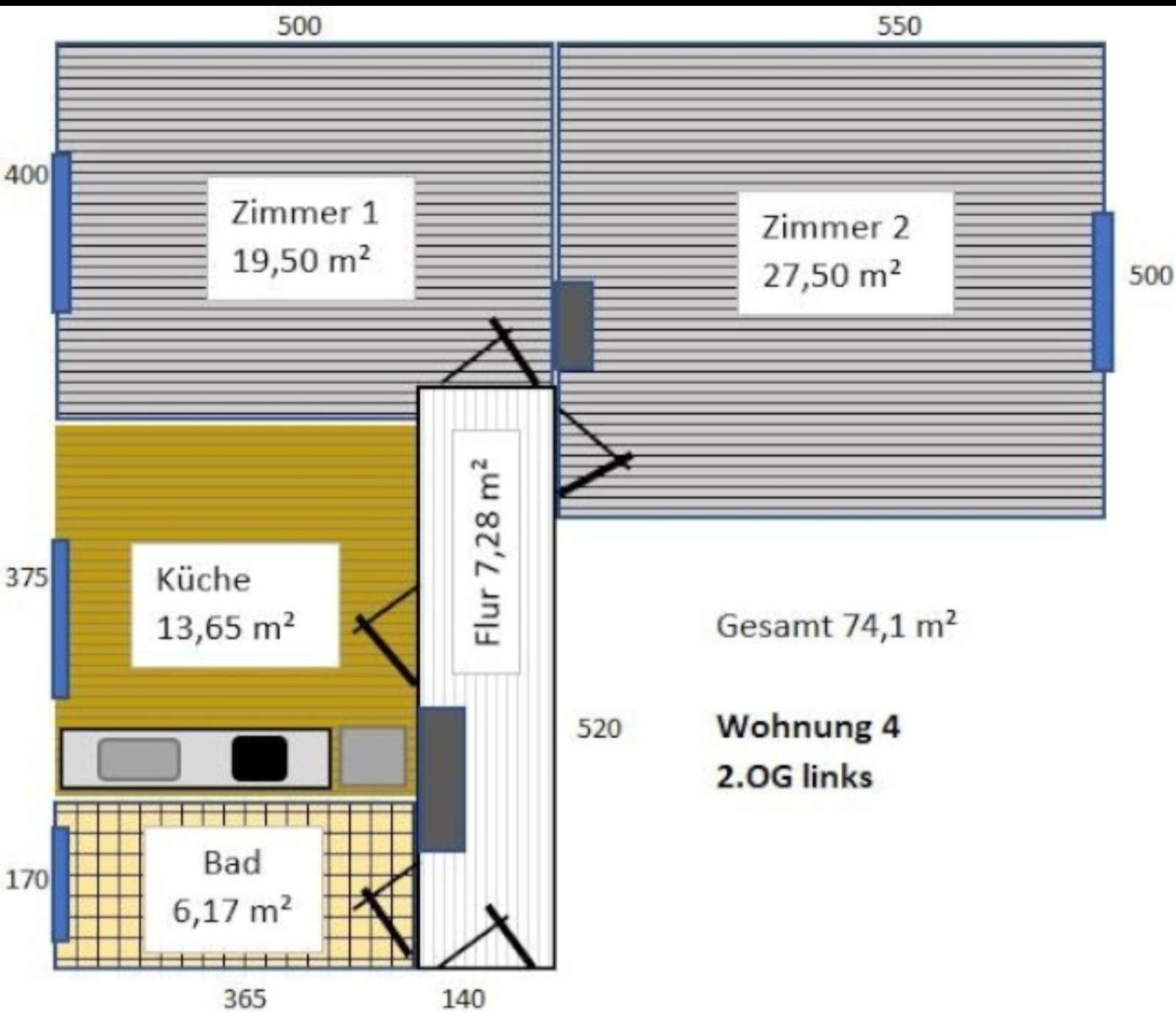 2-Zi, für WG geeignet - 74 m², neu renoviert in