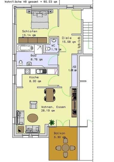 Wohnung 8, 2.OG, 85,03m²<