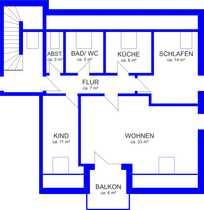 Gepflegte 3 5-Zimmer-DG-Wohnung mit Balkon