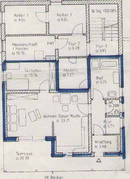 Freundliche 2-Zimmer-Terrassenwohnung mit Einbauküche in Bogen in Bogen