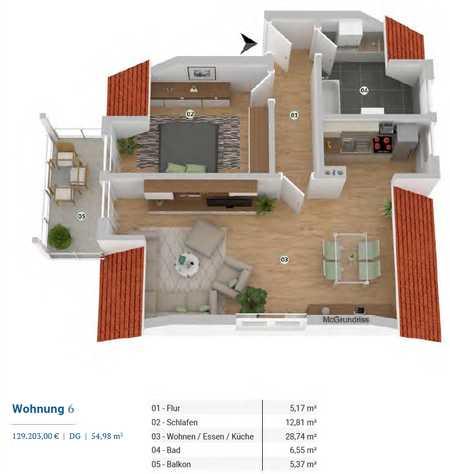 ***Sehr gepflegte 2-Zimmer-Wohnung mit Balkon in Top-Lage*** in Hennenbach (Ansbach)