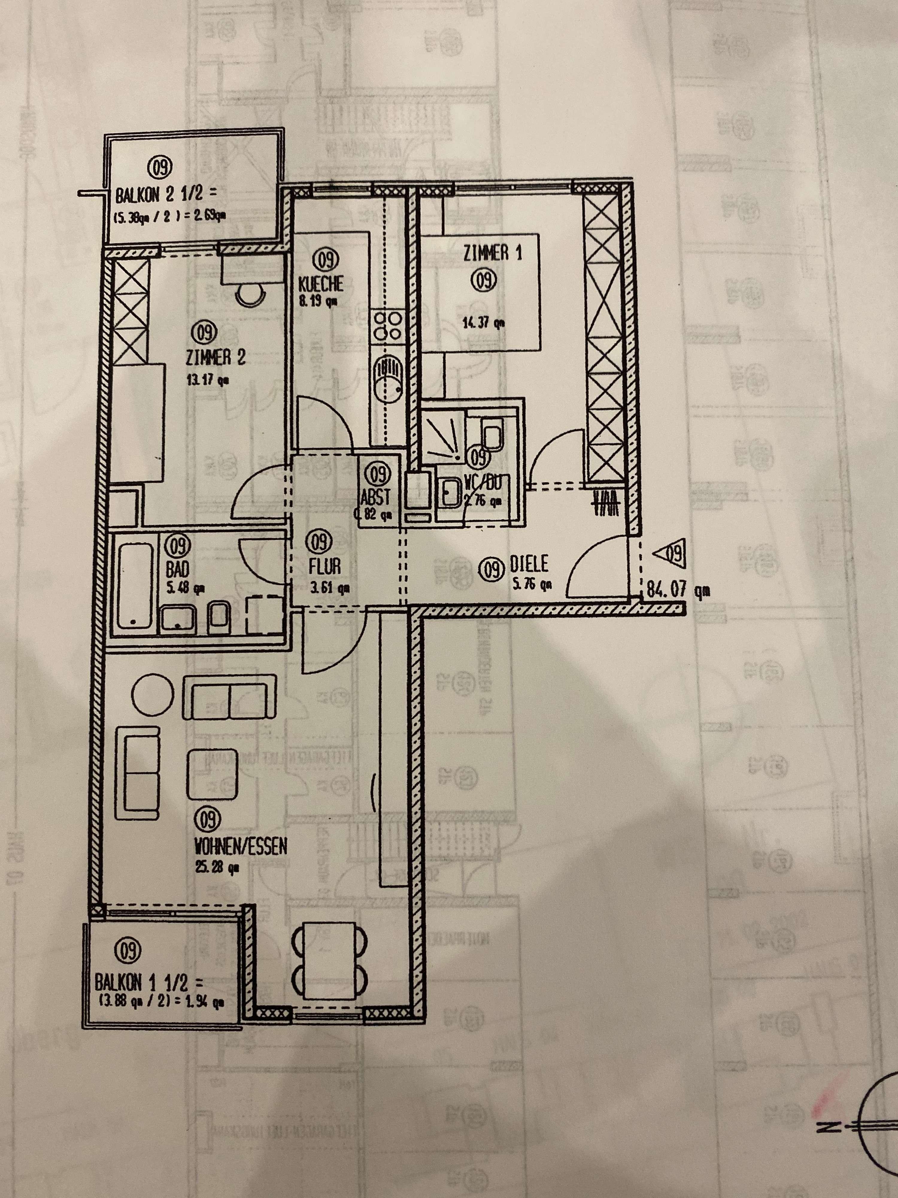 1.850 €, 85 m², 3 Zimmer in Am Hart