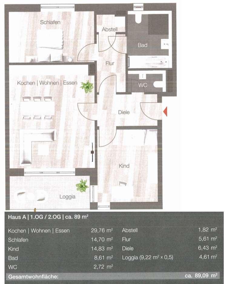 Erstbezug - Lichtdurchflutete 3 ZKB inkl. EBK & Loggia in ruhiger Lage in Gersthofen