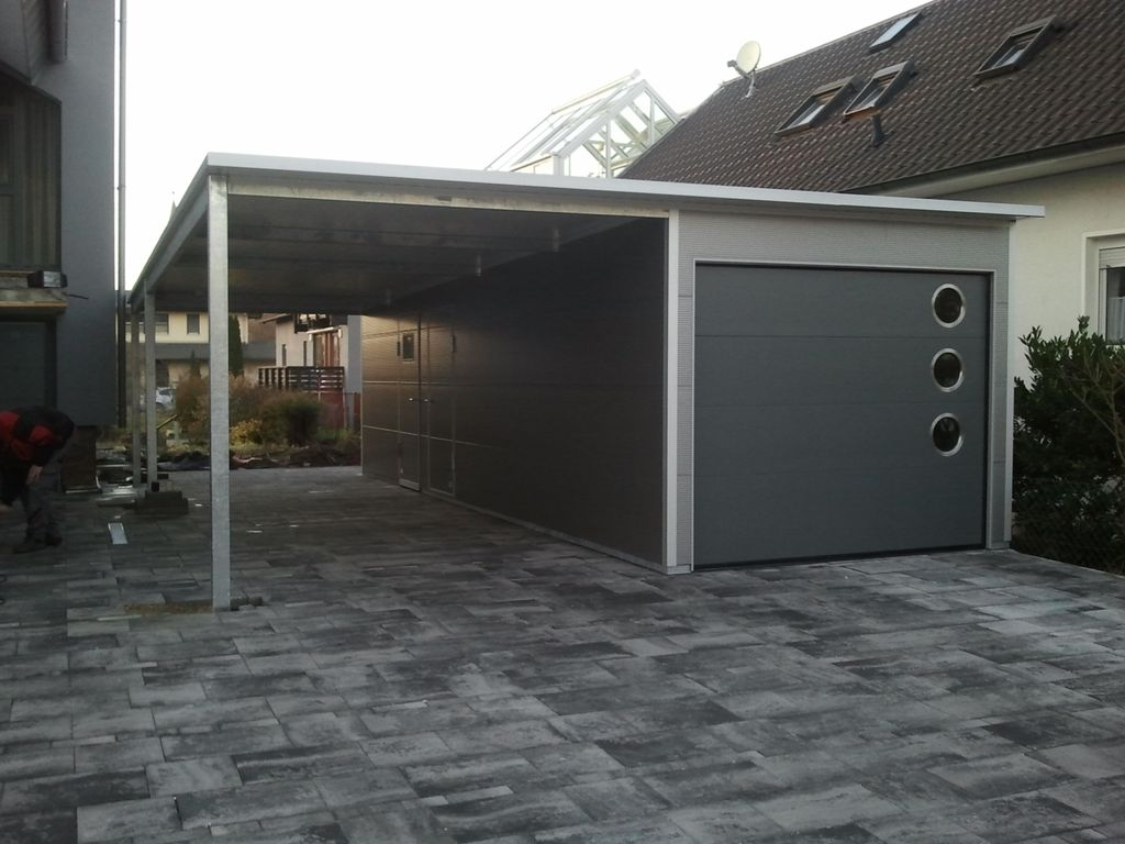 iso garage mit pultdach und carport. Black Bedroom Furniture Sets. Home Design Ideas