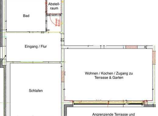 Helle, 2017 frisch sanierte 2-Zimmer Wohnung in Waldkirch inkl. EBK, Garage und Terrasse mit Garten
