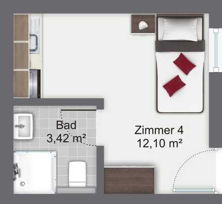 Helles möbliertes Apartment im Erdgeschoss mit kleiner Terrasse ab sofort frei !!!! in Trudering (München)
