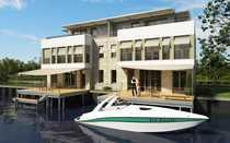 Bild Steg-Doppelhaushälfte mit Bootsanlegestelle, weiträumigen Terrassenflächen & Studio