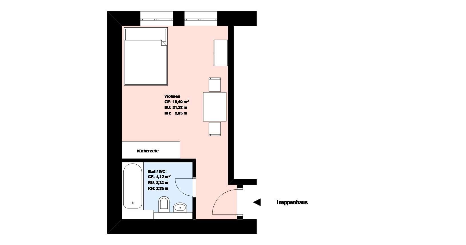 **Nähe Theresienwiese** 1-Zimmer-Wohnung**möbliert**EBK ** Bad mit Badewanne **Keller* in Ludwigsvorstadt-Isarvorstadt (München)