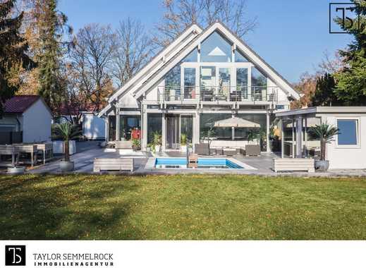 Luxuriöse Fachwerkvilla mit Pool, Sauna und großem Garten in attraktiver Grünruhelage
