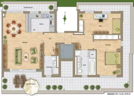 3 Zi. Luxus-Penthouse 117 qm, 159 qm nb.Fl ,62qm Dachterrasse, 2 Bäder, Aufzug in die WG, Fußbodenh. in Moosach