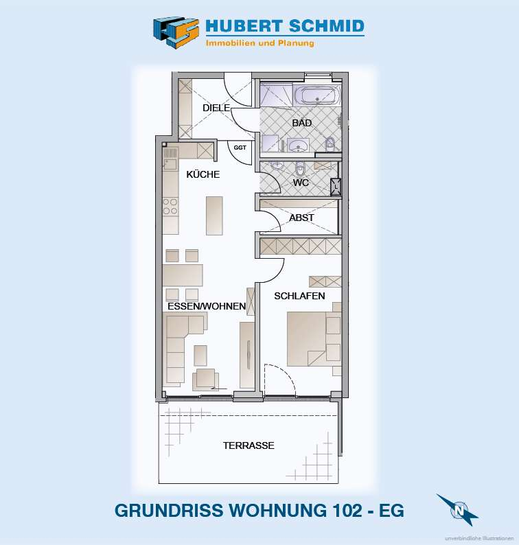 Grundriss Whg. 102