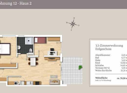 Druchdachte 3,5.-Zi.-EG Wohnung mit Privatgarten