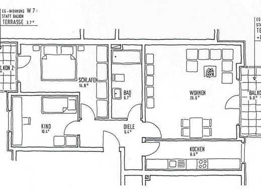 Gepflegte 3-ZKB Wohnung im Erdgeschoß, mit Terrasse und Garten in Hildesheim-Sorsum