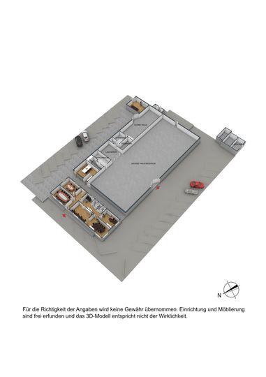 Grundriss Lager+Büro 3D möblie