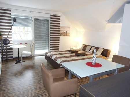 Modernes, geräumiges möbliertes 1-Zimmer-Apartment mit Balkon und offener Küche in ruhiger Lage in Bruck (Erlangen)