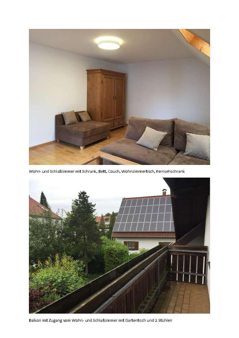 vollmöblierte 1,5-Zimmer-Wohnung mit Balkon, Gartenmitbenutzung in Friedberg nähe Baggersee in