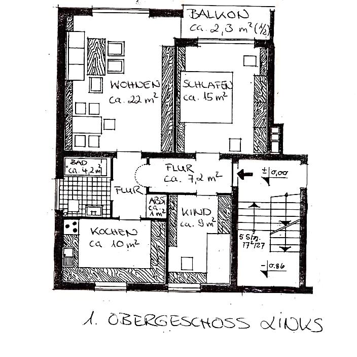Baldham, schöne 3-Zi.-Wohnung mit Balkon und Gartenmitbenutzung! in