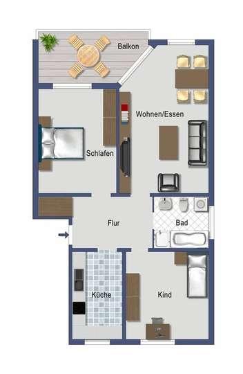 Grundriss 3 Zimmer<