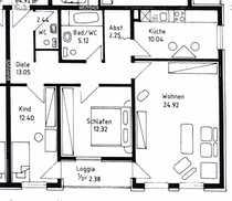 Großzügige 3 Zimmer Wohnung in