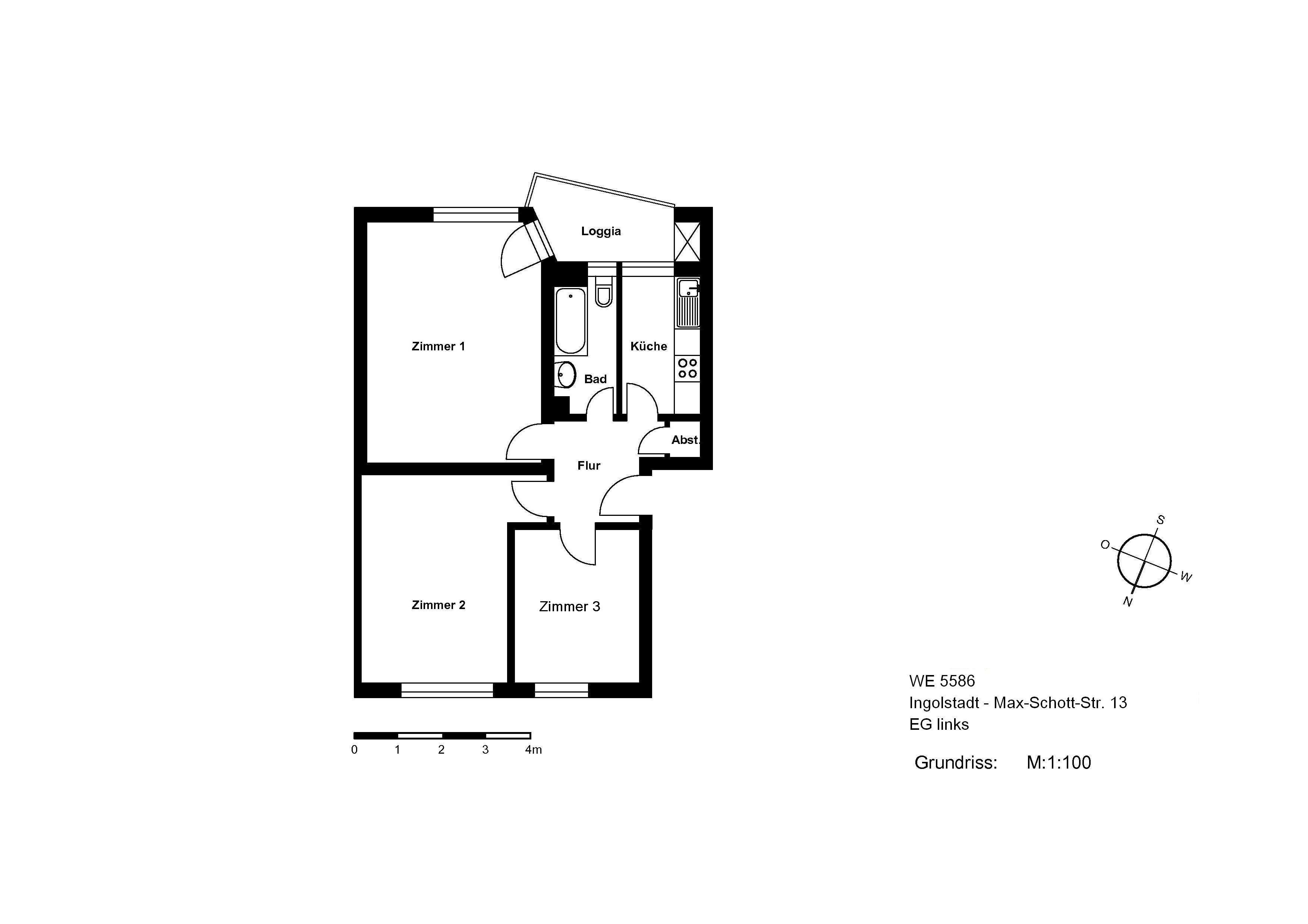 IN AUDI-NÄHE:  3-Zimmer-Whg. mit Loggia, Abstellraum u. Tageslichtbad in Nordwest