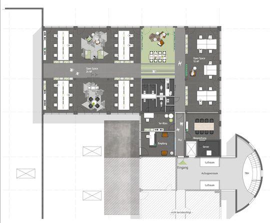 Büroaufteilung Open Space