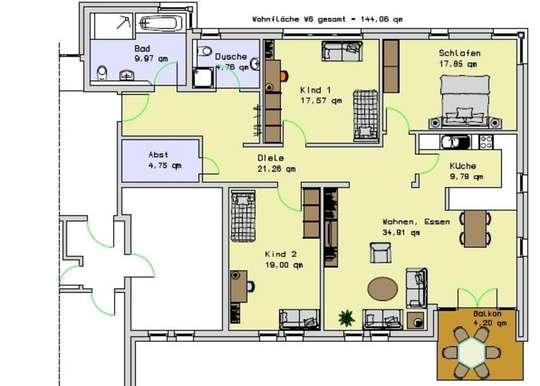 Wohnung 6, 1.OG, 144,06m²<