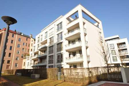 Exklusive Neubauwohnung in den Max-Höfen, sehr gute Ausstattung mit großem Balkon, EBK, FBH und TG in Augsburg-Innenstadt