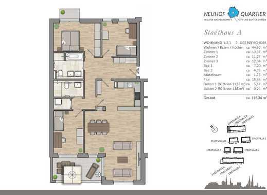 Einzigartig wohnen! Moderne 4-Zimmer-Wohnung mit 2 Bädern und Balkon