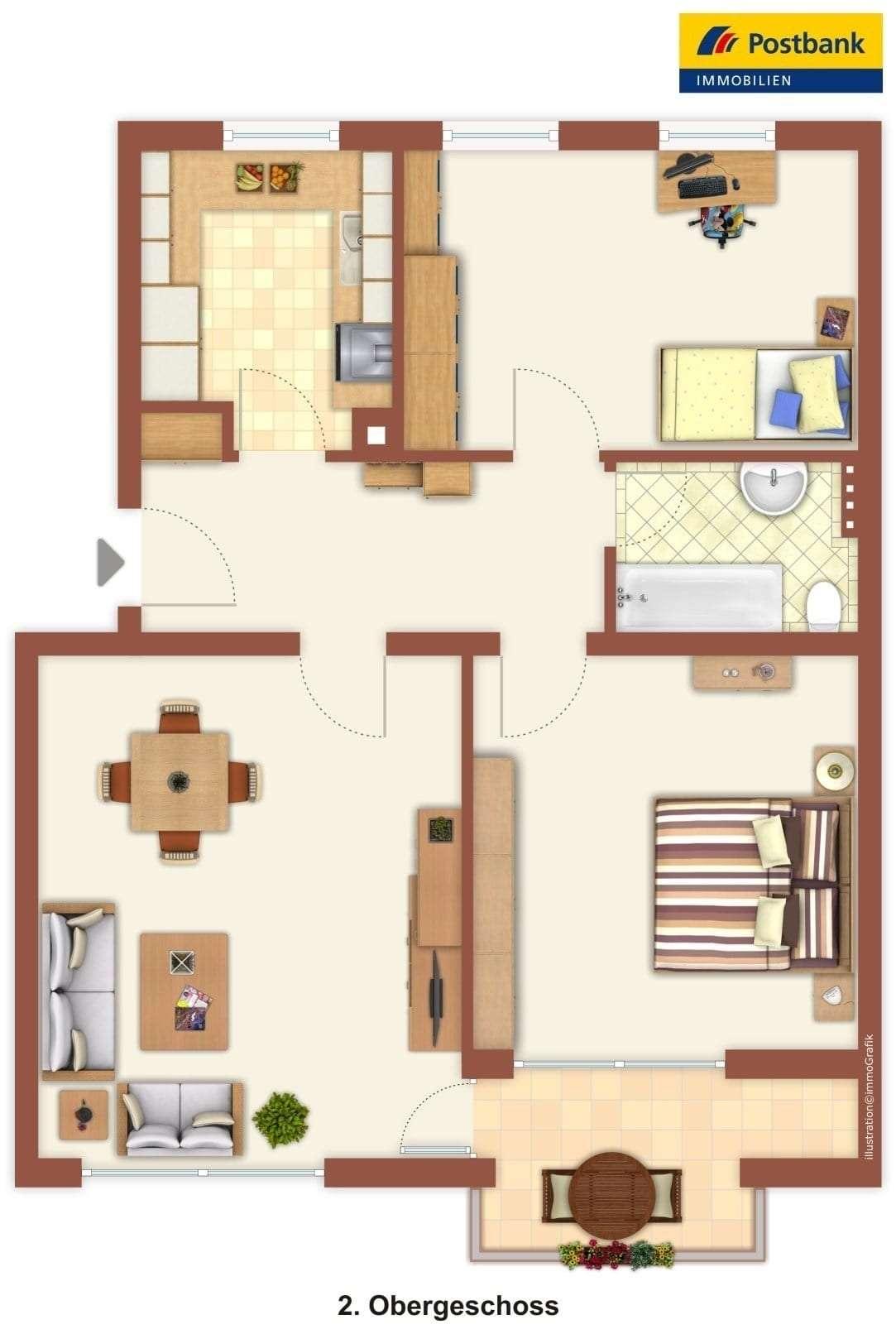 Ruhig gelegene  3 Zimmer Wohnung  in Traunstein