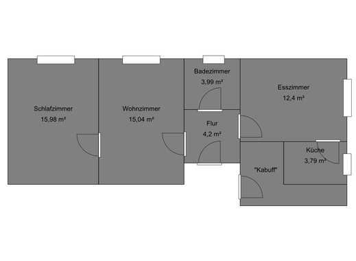 Helle Wohnung 55m², 3 Zimmer + Küche + Bad