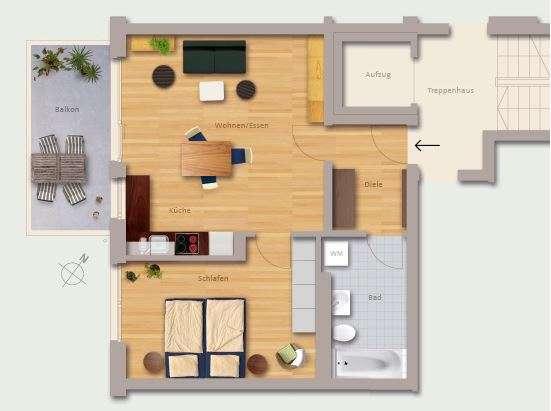 Erstbezug: exklusive 2-Zimmer-Wohnung mit Einbauküche und Balkon mit Blick auf Kaiserburg in Langwasser Nordost (Nürnberg)