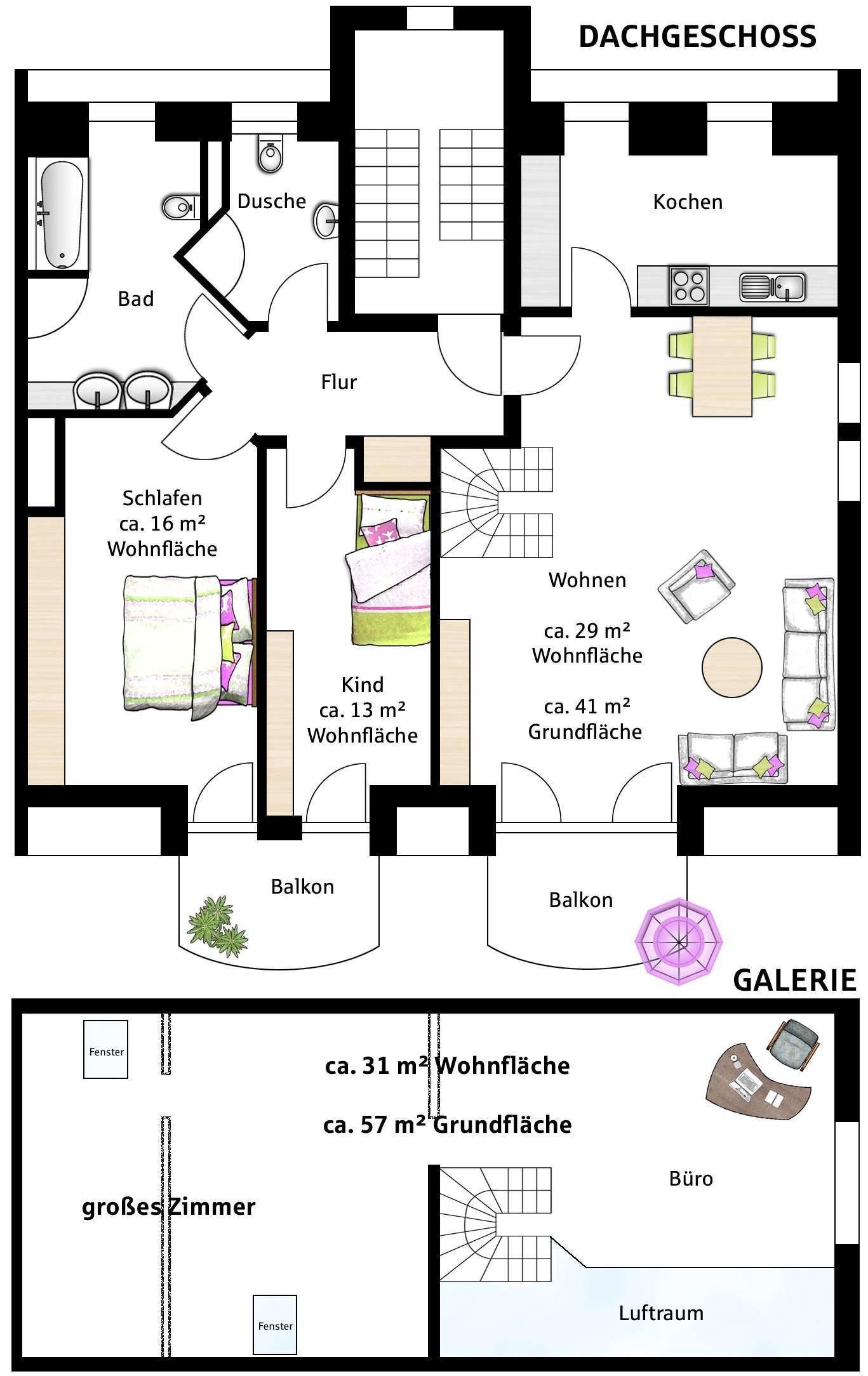 PROVISIONSFREI - Exklusive 4-Zimmer DG-Galerie Wohnung mit Balkon