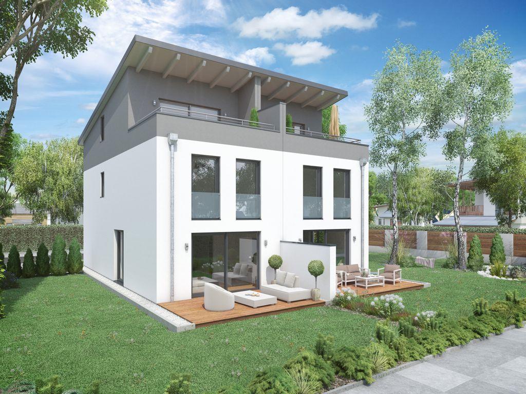 Moderne doppelhaush lfte haus 2 mit pultdach und for Modernes haus dachterrasse