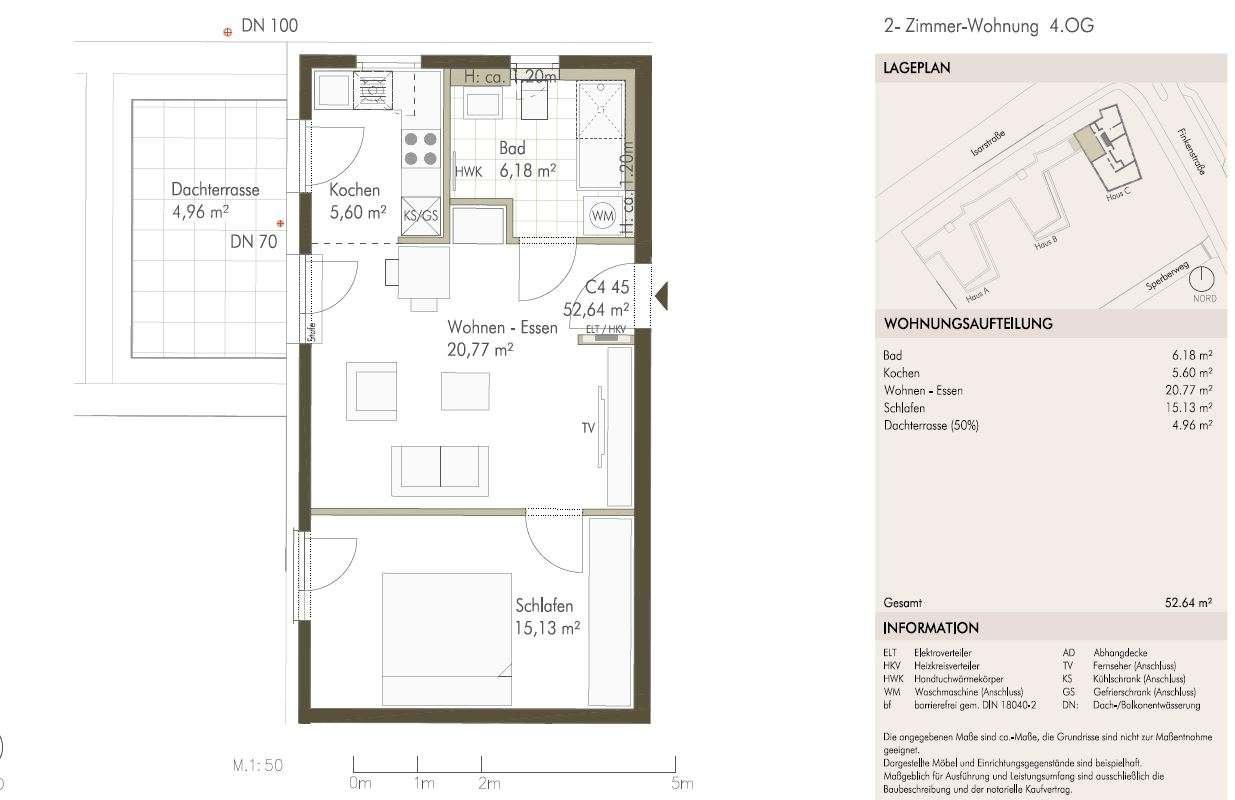 Sonnige 2-Zimmer-Wohnung mit Dachterrasse in Freising in Freising
