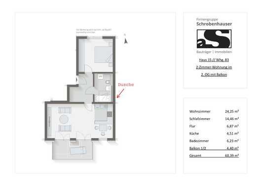 Neubau: 2-Zimmer-Wohnung mit Balkon im 2. OG in Unterhaching (Whg. 83)