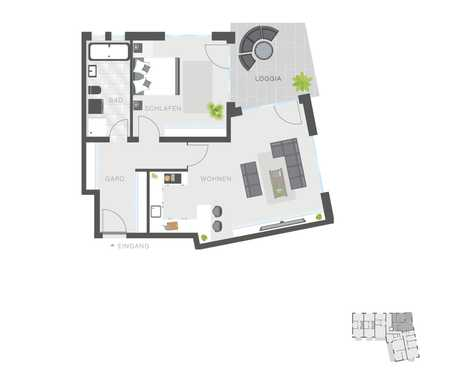 Geschmackvolle Wohnung mit zwei Zimmern sowie Balkon und Einbauküche in Ingolstadt in Südost (Ingolstadt)