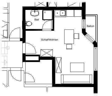 Geschmackvolle 1-Raum-Dachgeschosswohnung mit Balkon und EBK in Mömbris in