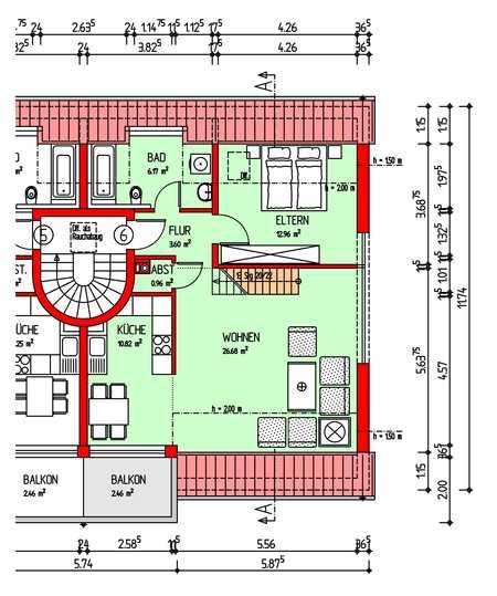 Schöne und gepflegte 2-Zimmer-DG-Wohnung mit Galerie, Balkon und EBK in Hallbergmoos in Hallbergmoos