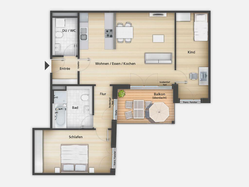 ihre neue wohnung in f rth moderne 3 zimmer wohnung mit ca 99 m wohnfl che und balkon. Black Bedroom Furniture Sets. Home Design Ideas