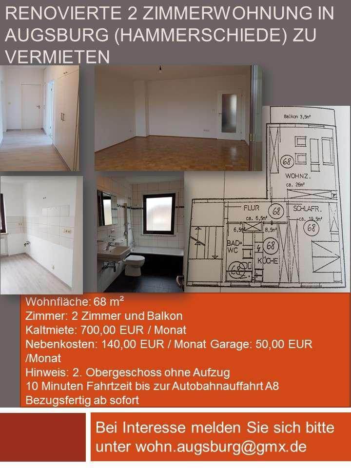 Sanierte 2-Zimmer-Wohnung mit Balkon in Augsburg in Hammerschmiede (Augsburg)