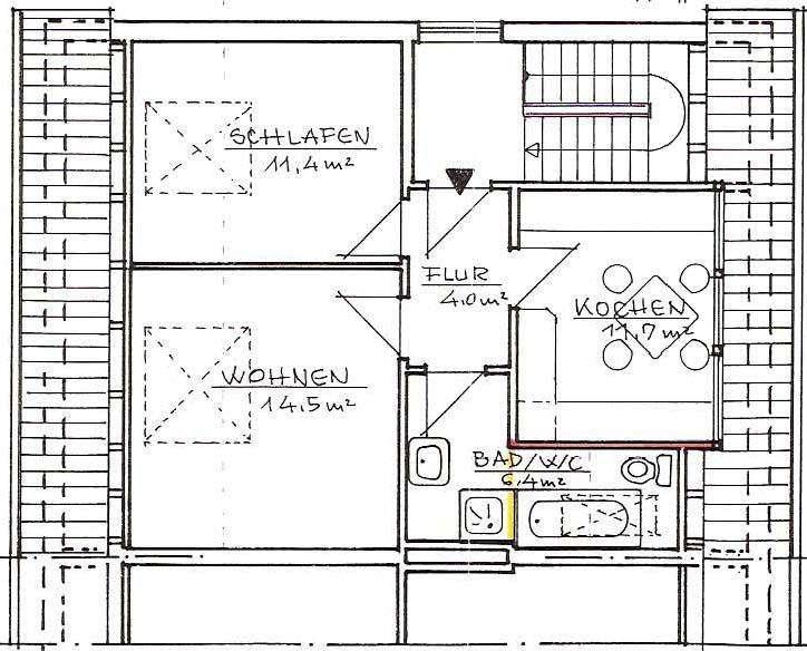 Ruhige sonnige 2-Zimmer Wohnung in Zweifamilienhaus in