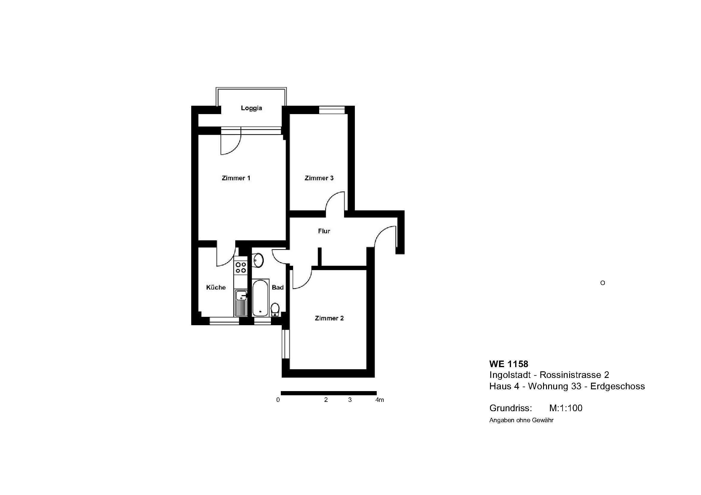 Ab 01.04.2020 - 3-Zimmerwohnung mit Loggia + Tageslichtbad in Nordwest