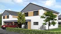 KfW-55-Einfamilienhaus 2 mit Carport Trespa-Wood-Decor