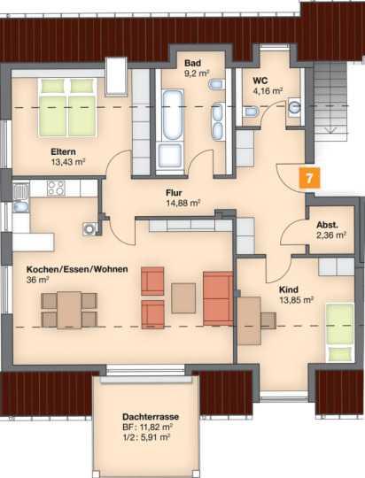 Neuwertige 3-Raum-DG-Wohnung mit Balkon und Einbauküche in Petershausen in Petershausen (Dachau)