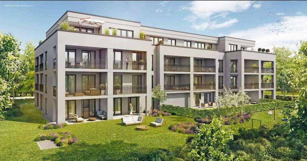 Erstbezug: Möbilierte 1-Zimmer - Wohnung im 2. Stock mit großer Terrasse und Garagenstellplatz in Ottobrunn