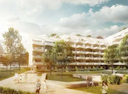 Innovativer Grundriss mit viel Freiraum. 2-Zimmer-Wohnung mit ca 25 m² Terrasse