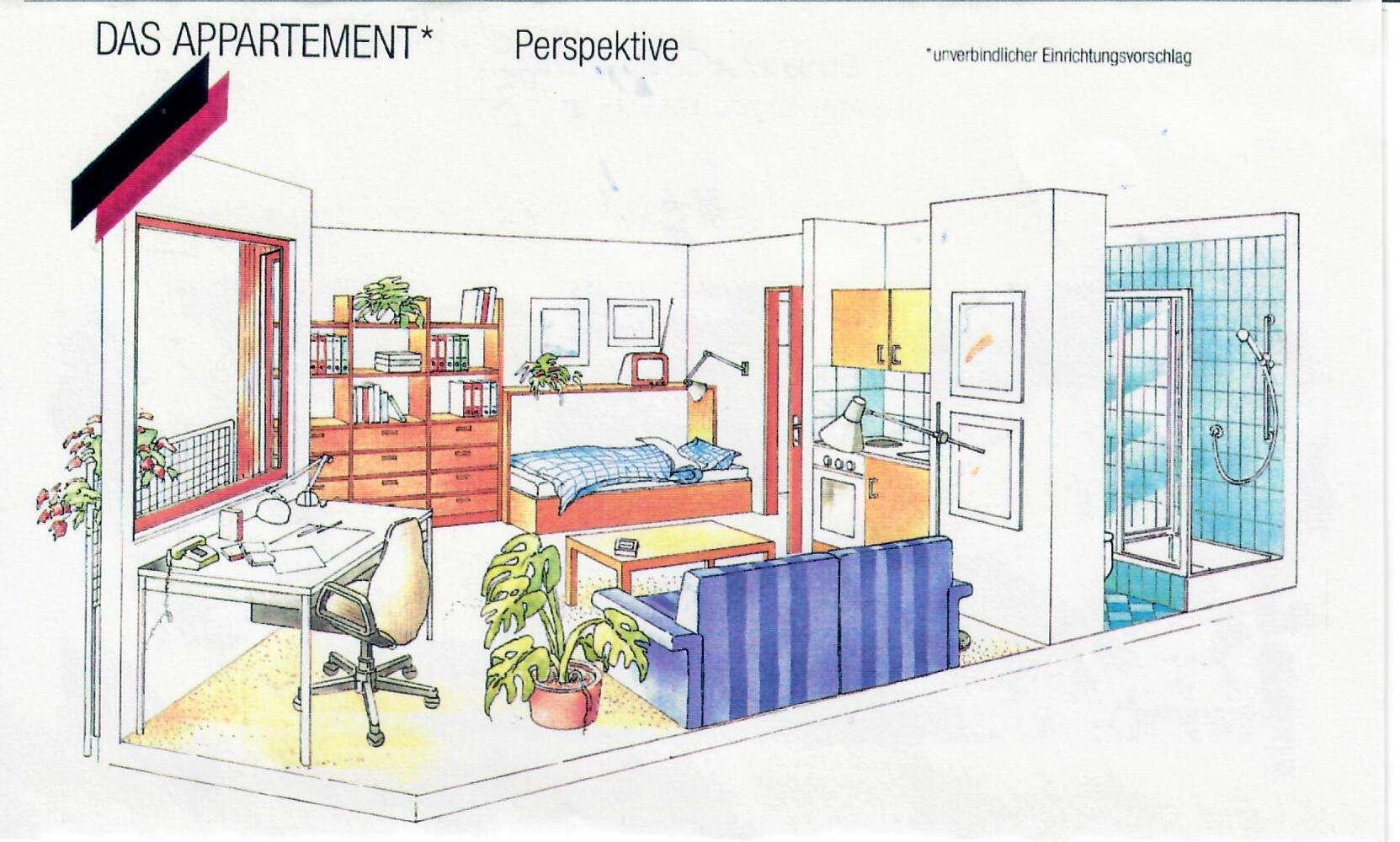 VON PRIVAT: 1-Zimmer-Wohnung mit Balkon, Küche und TG in Würzburg Frauenland in