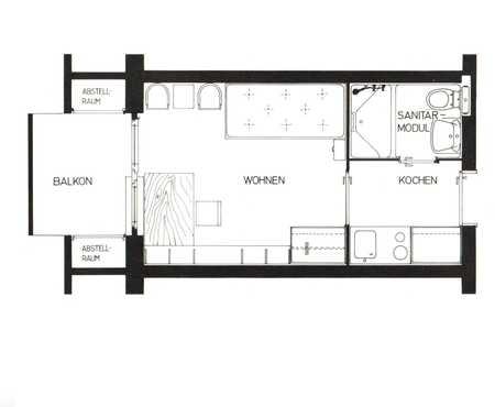 Schöne, gepflegte 1-Zimmer Wohnung in Uni-nähe ab 01.01.2021 mit Balkon ! in Kasernenviertel (Regensburg)